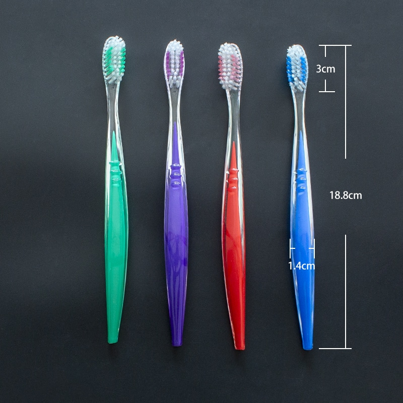 Transparent PS Handle Toothbrush with color infused inside